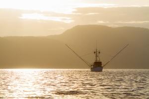 fishing troller at sunset 2
