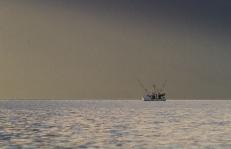fishing troller at sunset